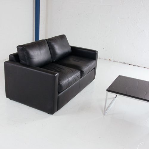 Real Black Leather Two Seater Sofa